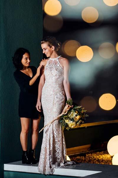 Custom Wedding Dress designer Angela Kim styling a bride