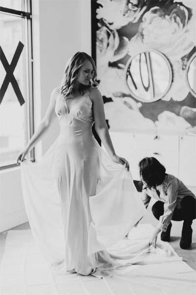 Angela Kim Styling a bride to be in a custom wedding gown