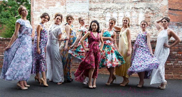 Angela Kim with her Garden Party models at Asheville Fashion Week