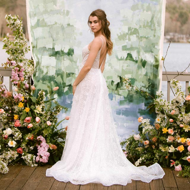 Kyra in couture 3d flower wedding gown