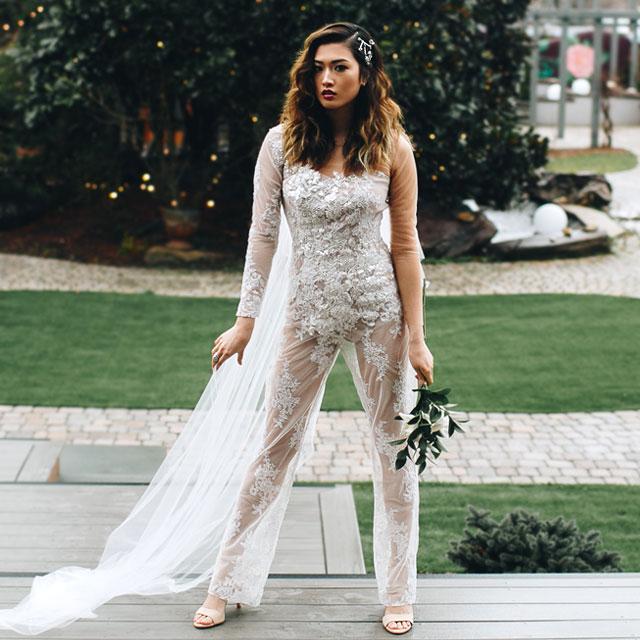 Makenzy is wearing a custom wedding pantsuit by Angela Kim
