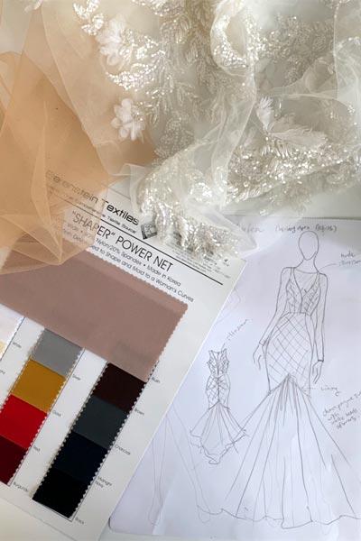 Custom wedding dress sketch and fabrics