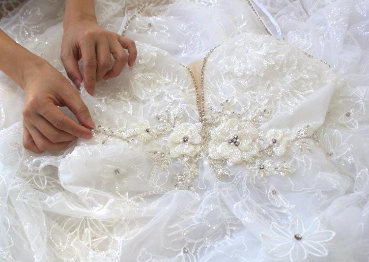Angela Kim couture Custom Wedding Dress Details