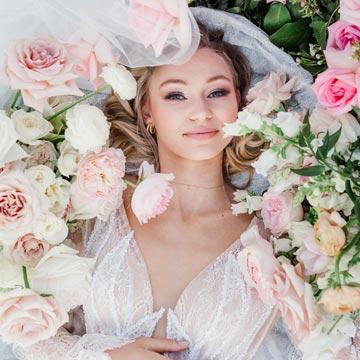 Natalie wearing her custom wedding gown