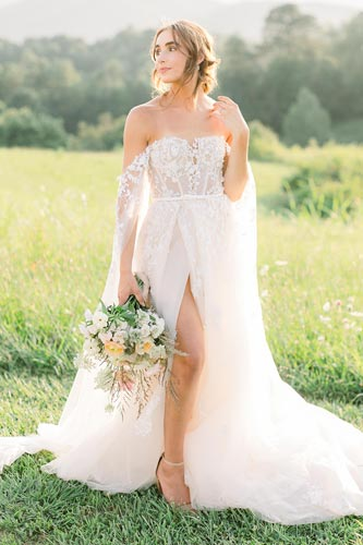 Rebekah wearing her custom bridal gown from Angela Kim Couture