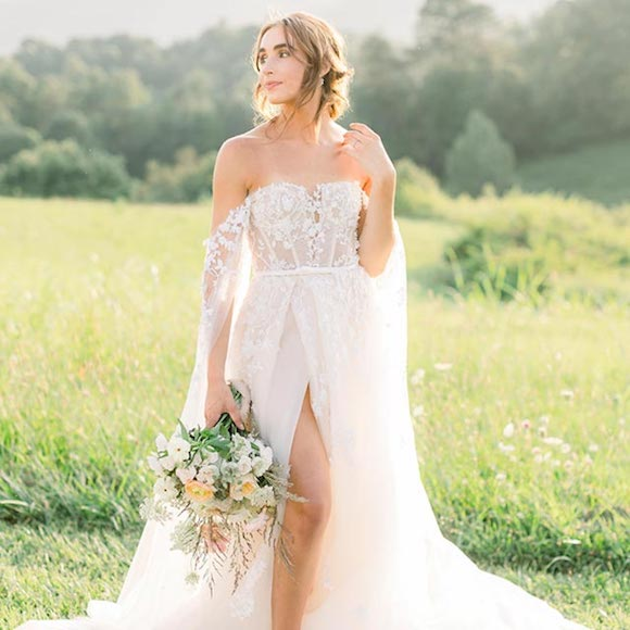 Rebekah wearing her custom wedding gown from Angela Kim Couture