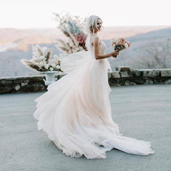Albina wearing her custom bridal gown