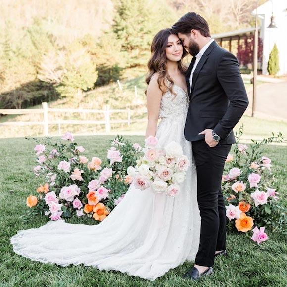 Evellina wearing her custom wedding dress